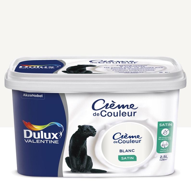 Peinture Blanc Satin Dulux Valentine Crème De Couleur 2 5 L