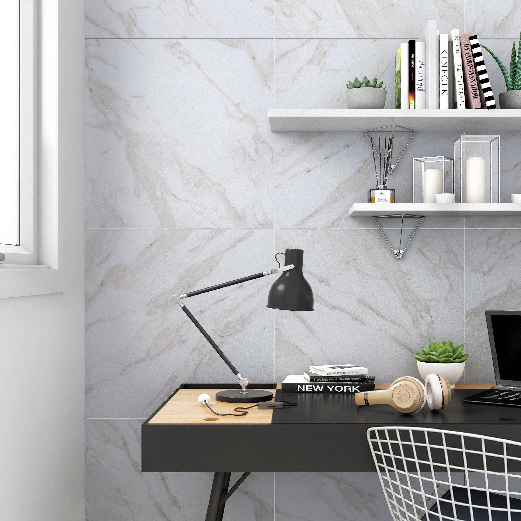Carrelage sol et mur forte effet marbre blanc cassé Remix l.60 x L.60 cm