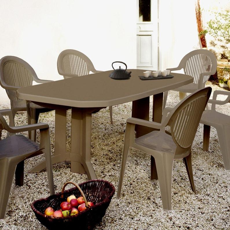 Table de jardin de repas GROSFILLEX Véga rectangulaire taupe 12 personnes