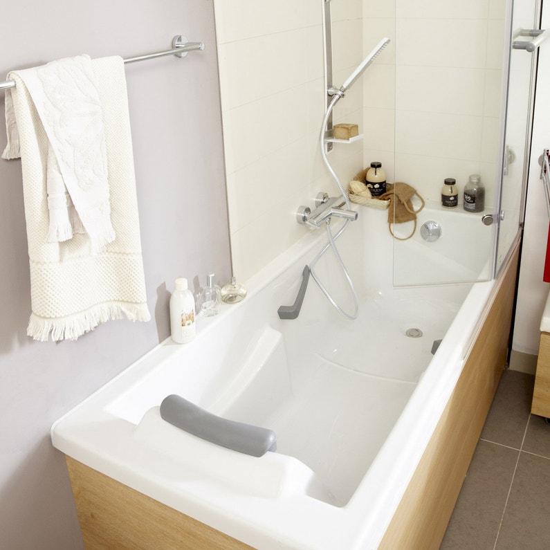 Baignoire Rectangulaire L 175x L 75 Cm Blanc Sensea Premium Confort
