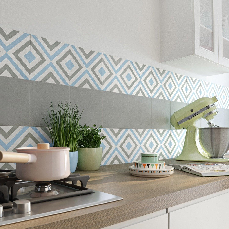 carreau de ciment mur gris bleu blanc mat x cm belle poque anna leroy merlin. Black Bedroom Furniture Sets. Home Design Ideas