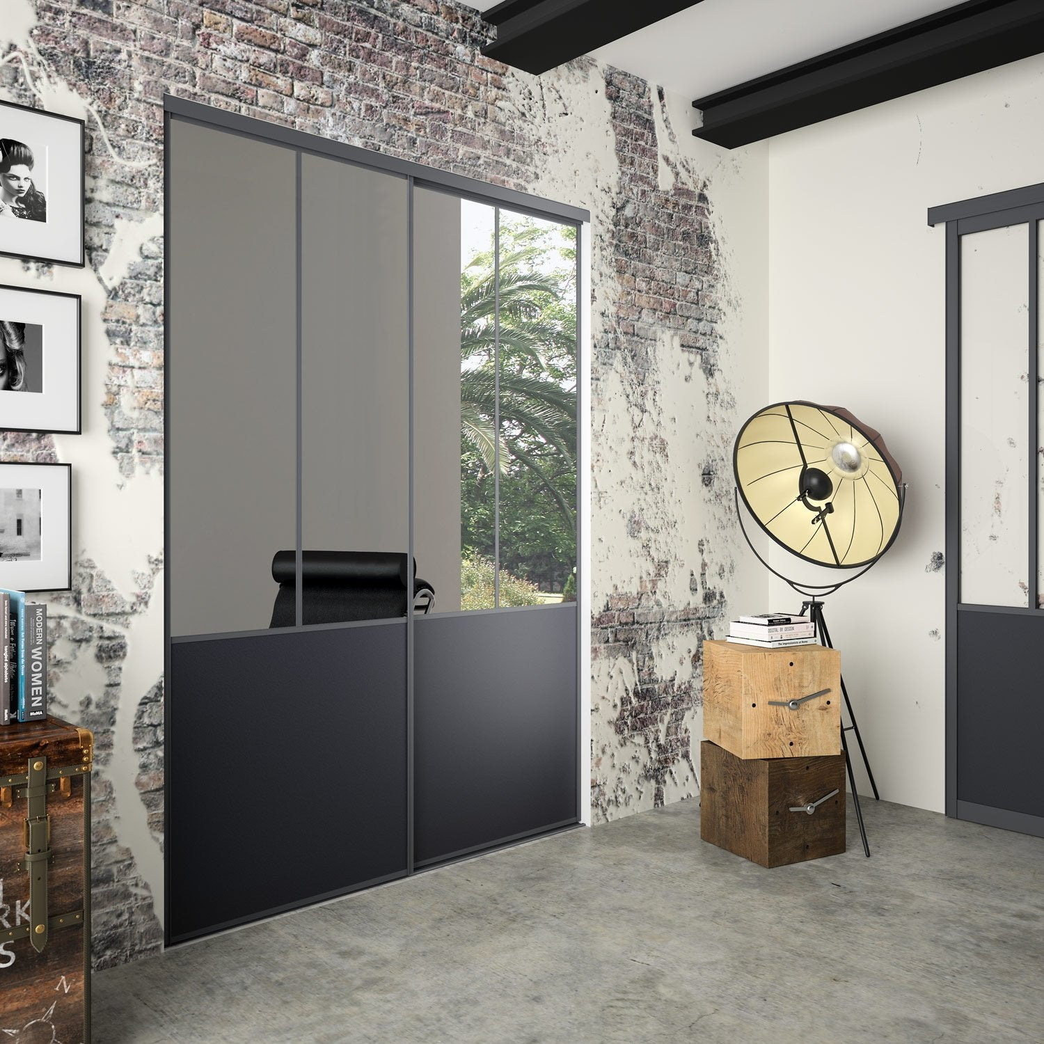 Lot De 2 Portes De Placard + Rail Coulissante Miroir / Noir L.150 X Idees De Conception De Maison
