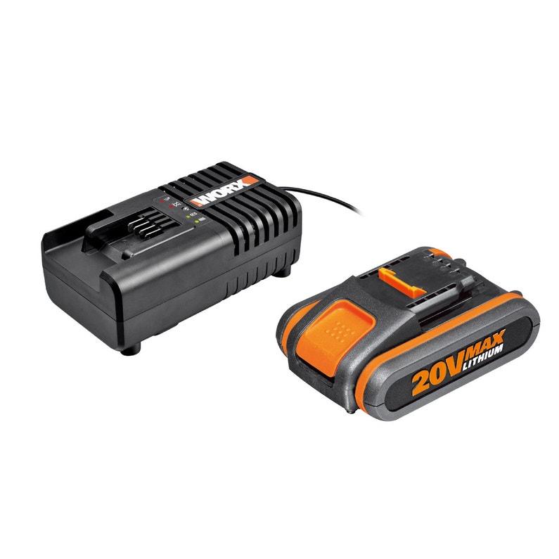 Pack Batterie 20v 2ah Chargeur Worx Lithium Ion 20 V