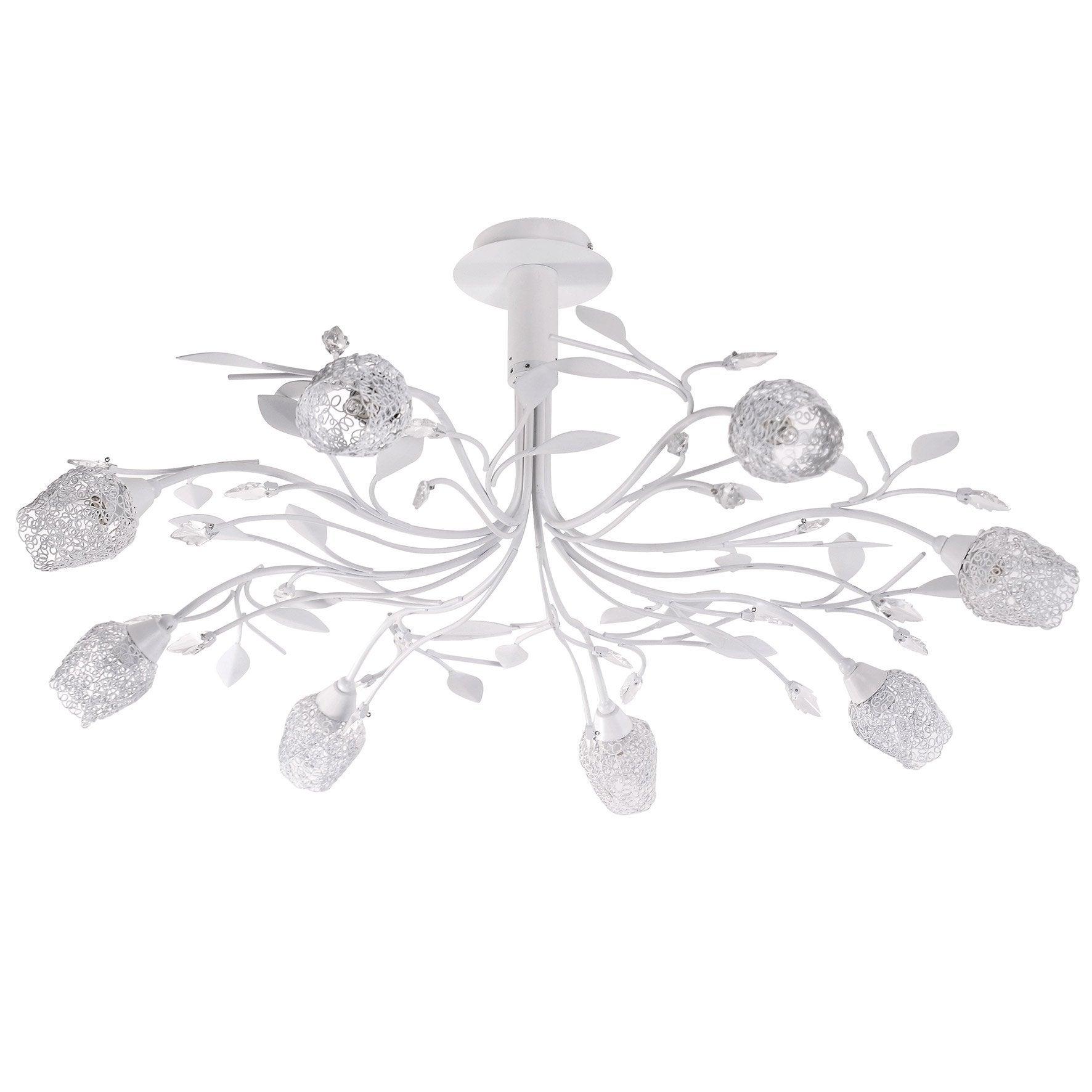 Lustre, classique chic métal blanc SEYNAVE Adriana 8 lumière(s) D.83 cm