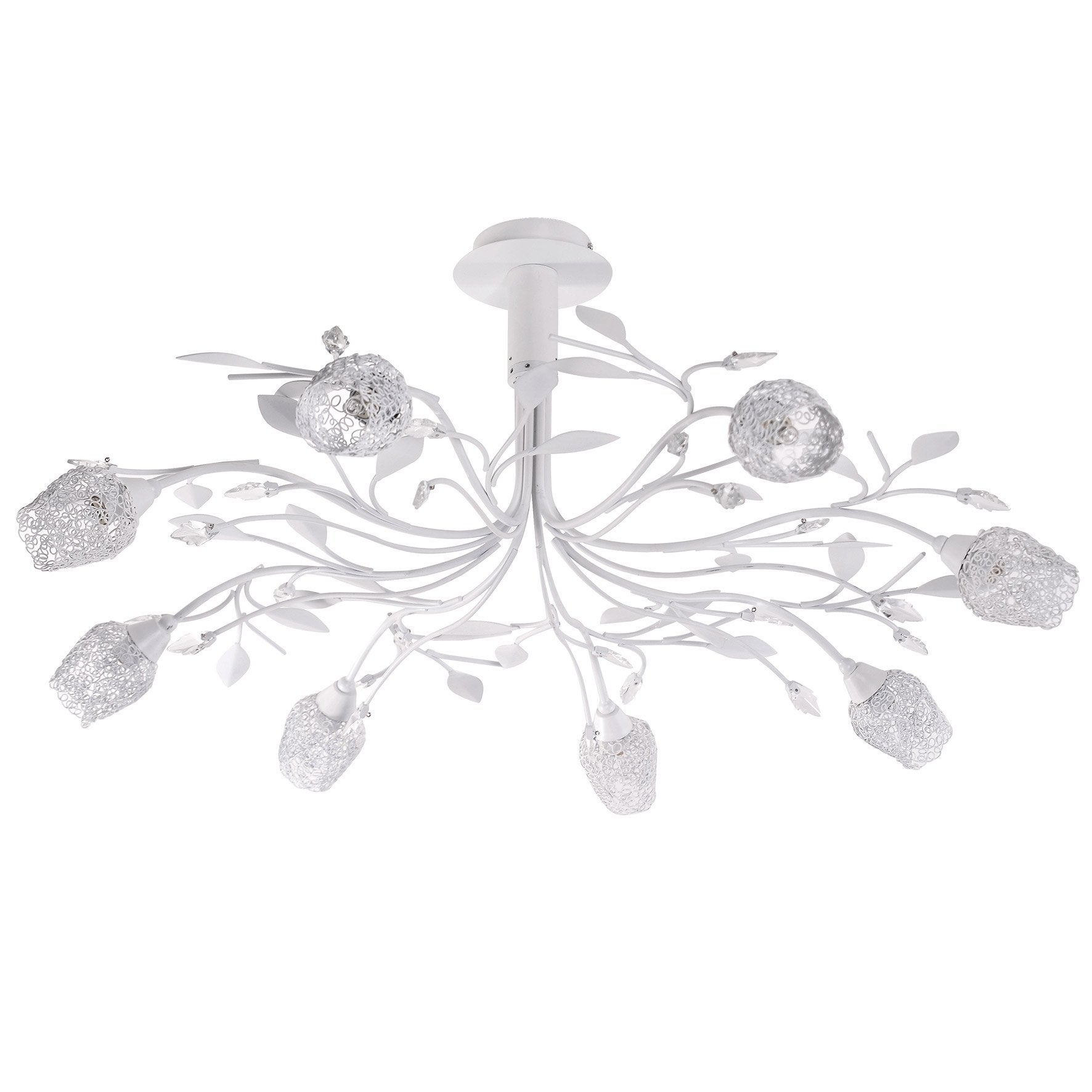 Lustre métal blanc SEYNAVE ADRIANA 8 lumière(s) D.83 cm