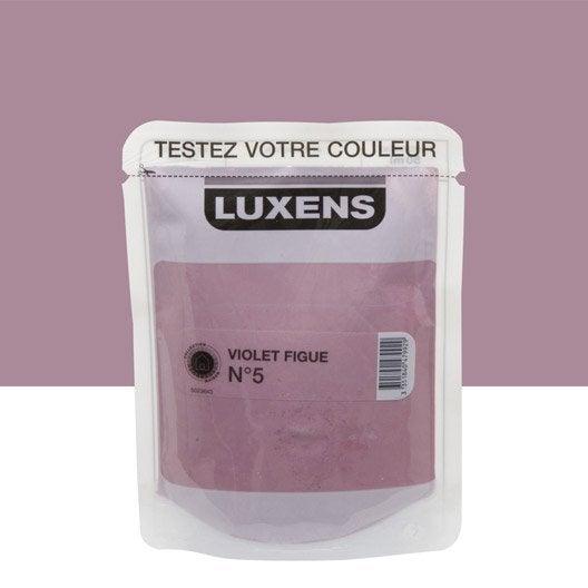 Testeur peinture violet figue 5 luxens couleurs int rieures satin l leroy merlin for Peinture couleur figue