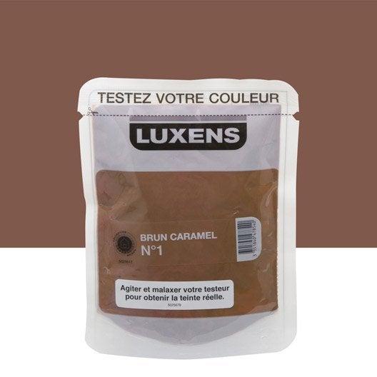 Testeur peinture brun caramel 1 luxens couleurs int rieures satin l leroy merlin for Peinture couleur caramel