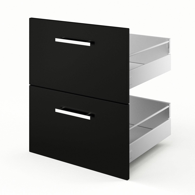 2 tiroirs de cuisine noir Délice, L.60 x H.70 x P.55 cm
