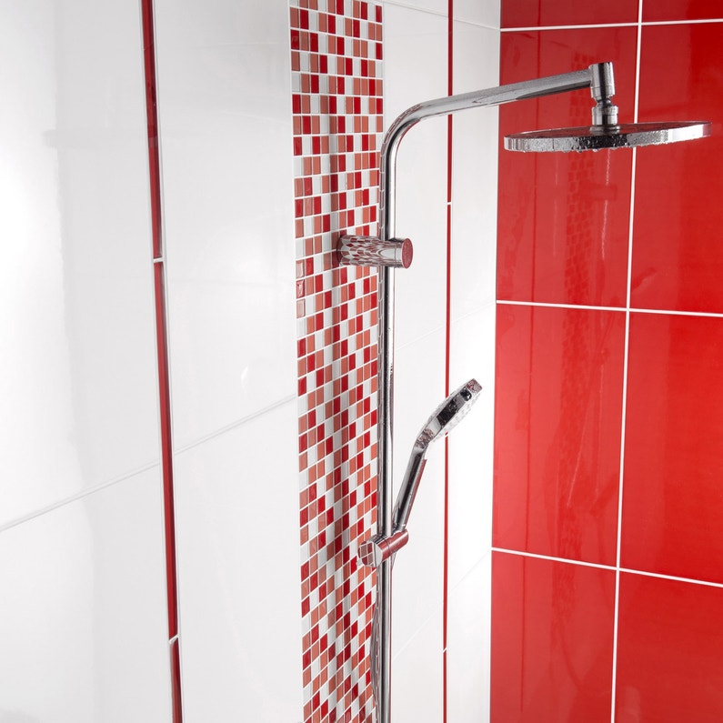 La mosa que rouge souligne la colonne de douche leroy merlin for Carrelage mosaique rouge