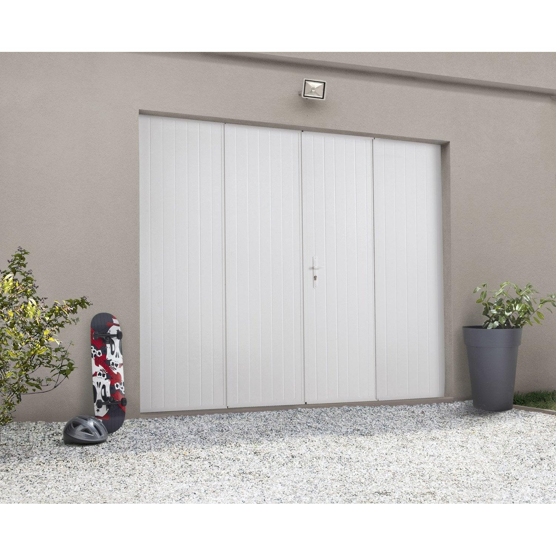Porte De Garage Pliante Manuelle ARTENS Essentiel X Cm Avec - Porte de garage sectionnelle avec porte de service pvc sur mesure leroy merlin