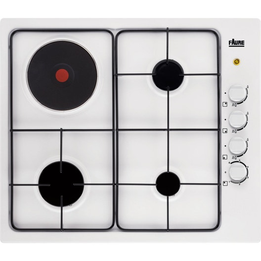 plaque de cuisson mixte 4 foyers blanc faure fgm63444wa. Black Bedroom Furniture Sets. Home Design Ideas