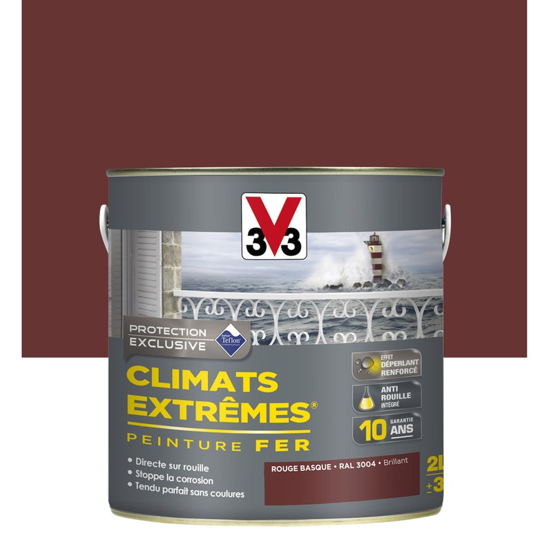 Peinture Fer Extérieur Climats Extrêmes V33 Rouge Basque 2 L