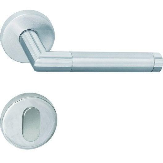 simple poignes sur rosace pinax acier inoxydable chrom et. Black Bedroom Furniture Sets. Home Design Ideas