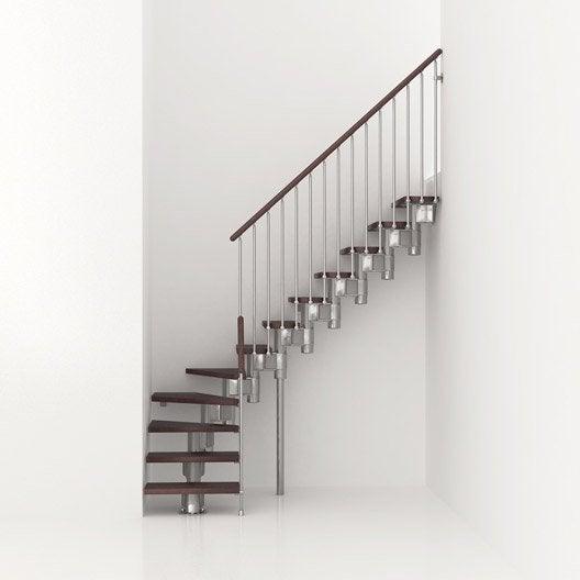 Escalier modulaire long structure m tal marche bois leroy merlin - Rampe escalier leroy merlin ...