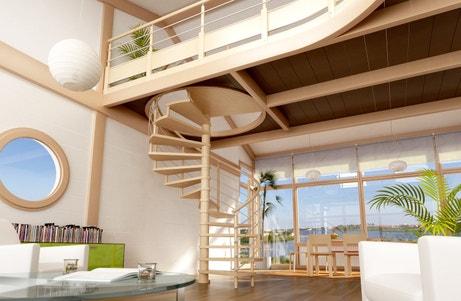 Un escalier en colimaçon bois et épuré