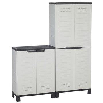 Lot de 2 armoires résine, haute et basse, blanc ALLIBERT airspire