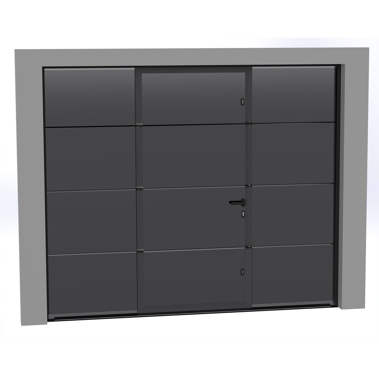 porte de garage sectionnelle motoris e artens essentiel 200x300cm avec portillon leroy merlin. Black Bedroom Furniture Sets. Home Design Ideas