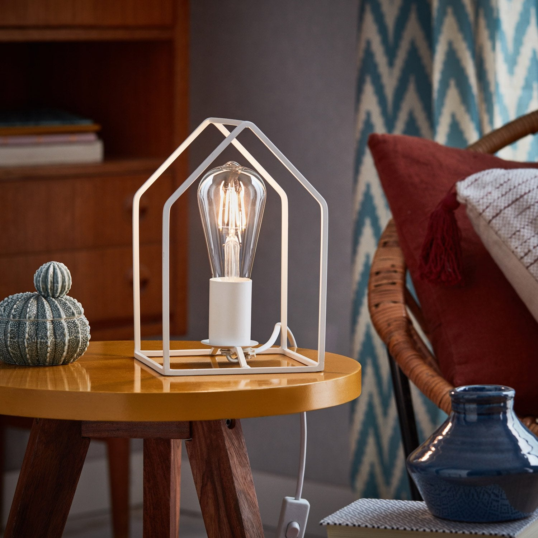 Lampe, e27 Home BRILLIANT, métal blanc, 60 W