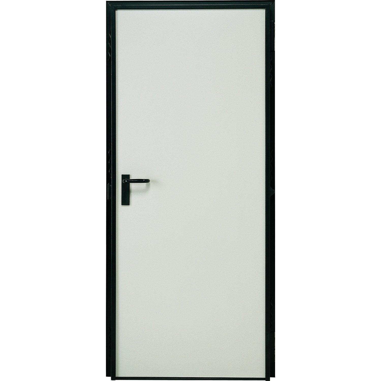 Porte de service acier Laquée blanc poussant gauche, H.207 x l.79