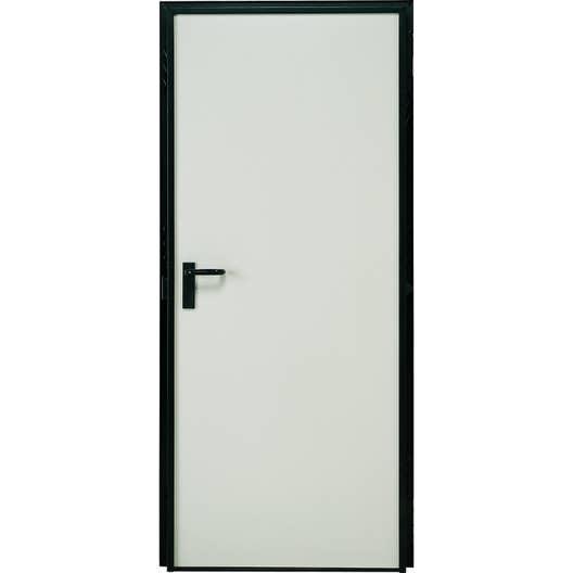 porte de service acier laque blanc poussant gauche h207 x l79 cm