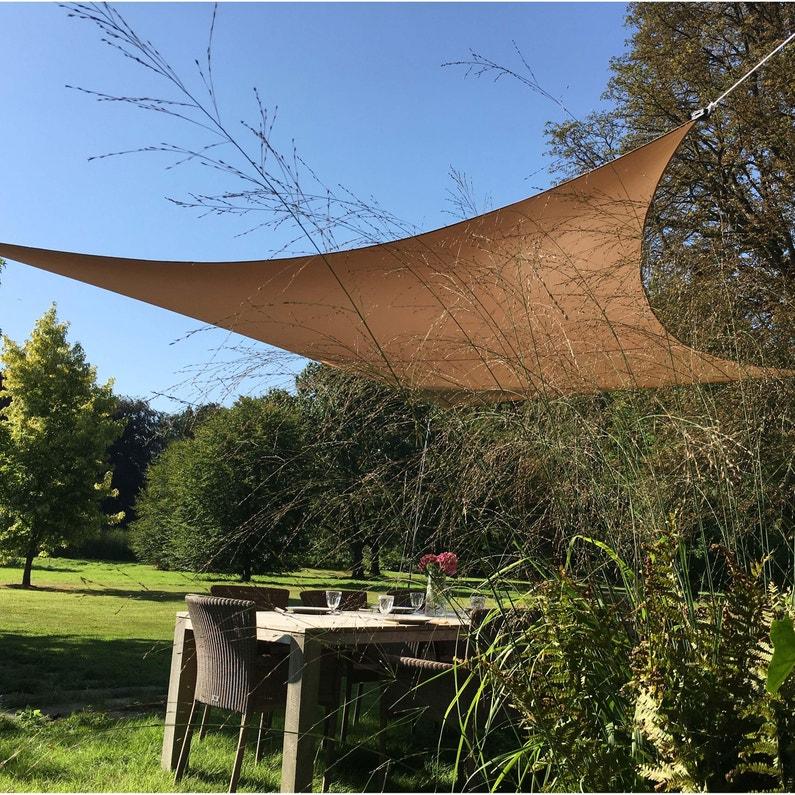 Voile d\'ombrage rectangulaire taupe L.500 x l.400 cm