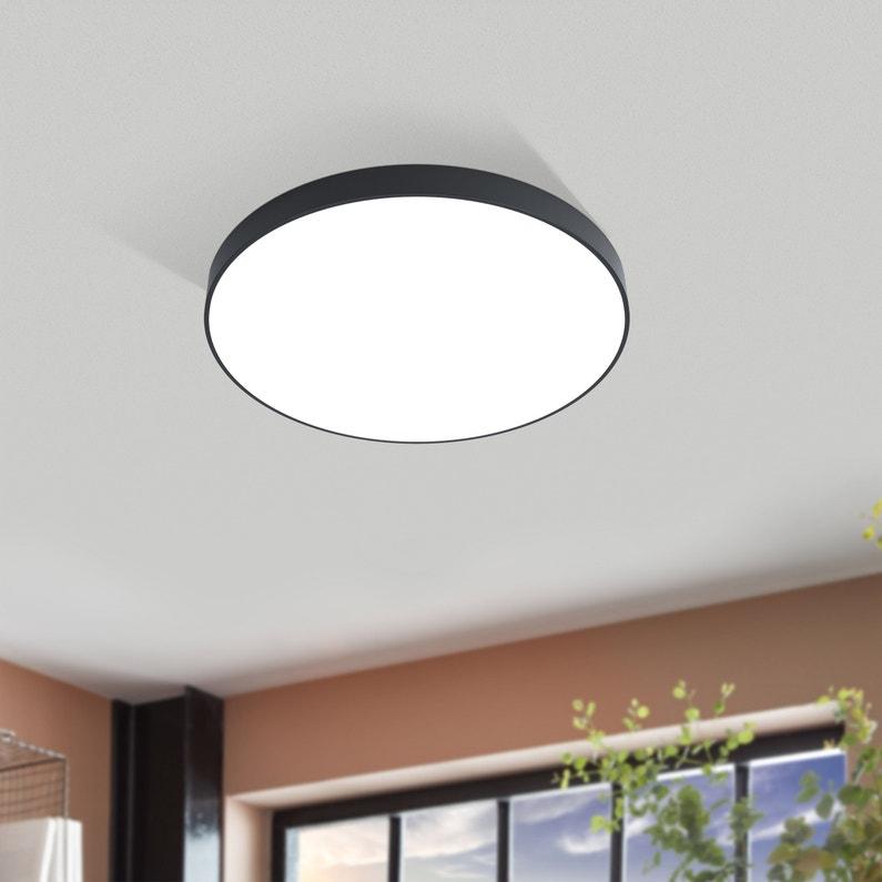 Plafonnier Design Aluminium Noir Led Integree Eglo Acces D 45 Cm
