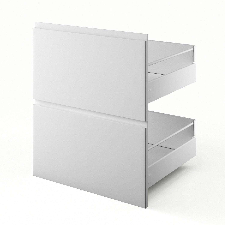 2 tiroirs de cuisine blanc Graphic, L.60 x H.70 x P.55 cm