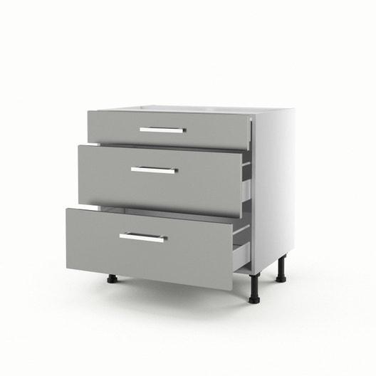 meuble de cuisine bas gris 3 tiroirs dlice h70 x l80 x