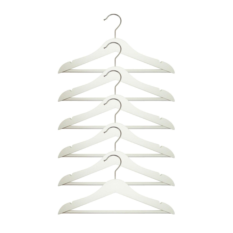 lot de 6 cintres enfant bois blanc x x p 1 cm leroy merlin. Black Bedroom Furniture Sets. Home Design Ideas