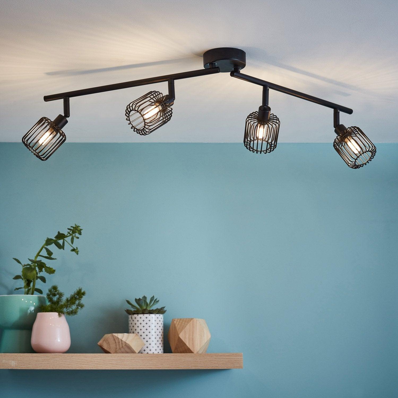 rampe 4 spots industriel flavian 4 xg9 noir brilliant. Black Bedroom Furniture Sets. Home Design Ideas