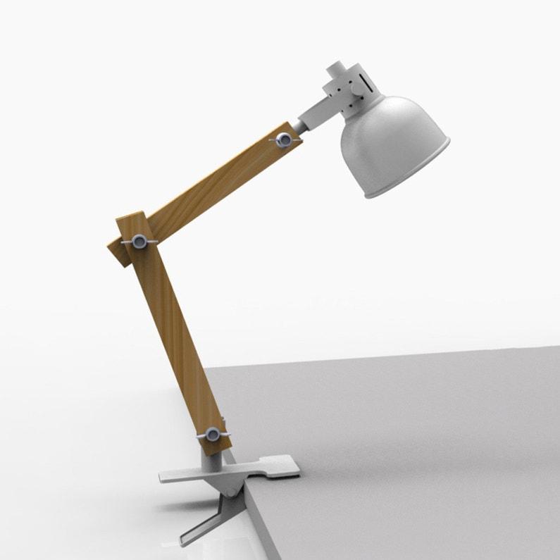 Lampe De Bureau à Pince Industriel Métal Blanc Seynave Nomade