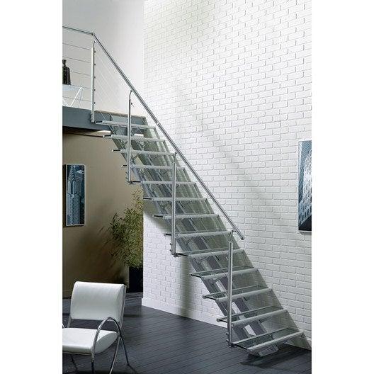 escalier droit escatwin structure aluminium marche verre leroy merlin