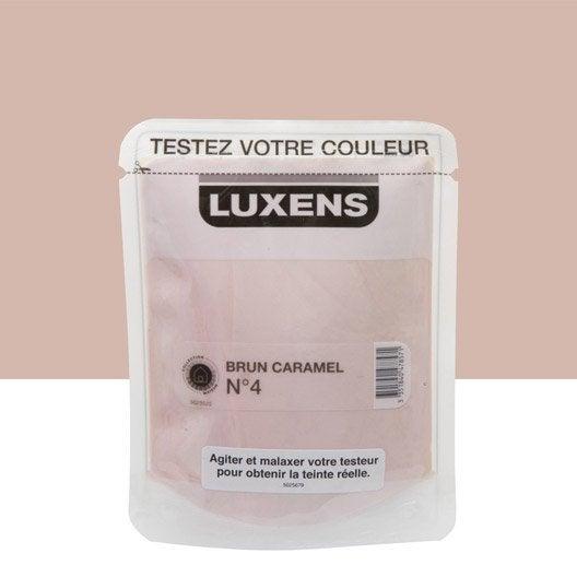 Testeur peinture brun caramel 4 luxens couleurs int rieures satin l leroy merlin for Peinture couleur caramel
