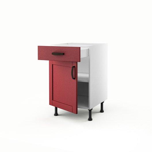 Meuble de cuisine bas rouge 1 porte 1 tiroir rubis for Meuble cuisine 50 x 70