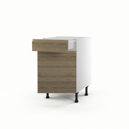 Meuble de cuisine bas d cor ch ne 1 porte 1 tiroir graphic for Meuble cuisine 50 x 70