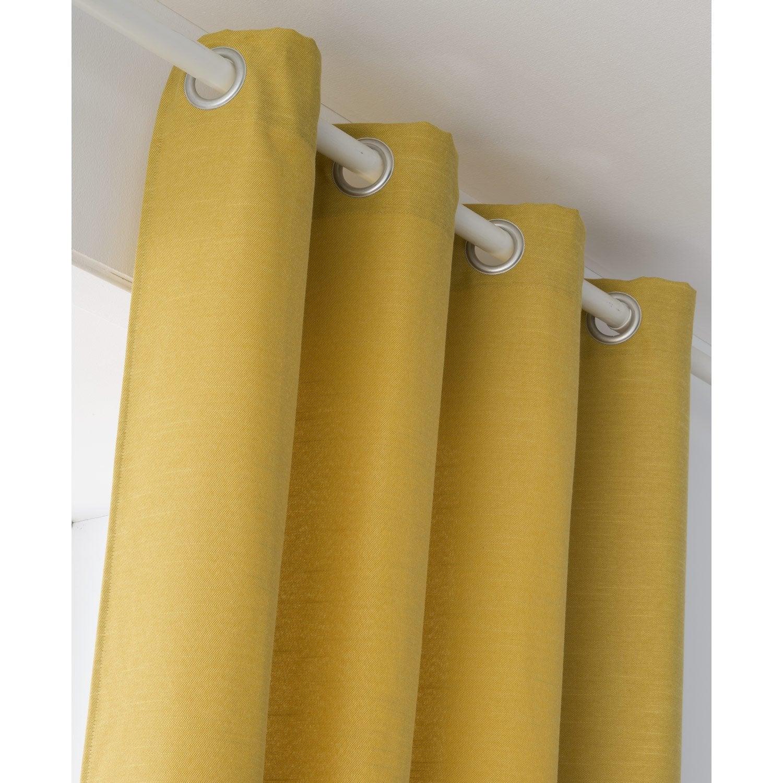 Rideau tamisant, Indigo, jaune, l.135 x H.250 cm
