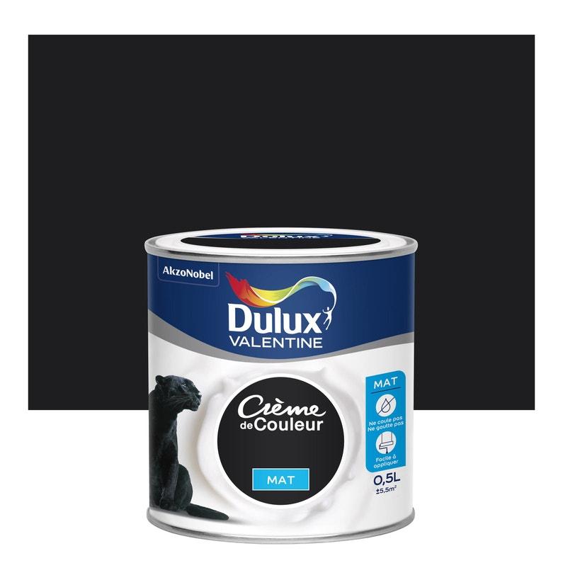 Peinture Noir Mat Dulux Valentine Creme De Couleur 0 5 L Leroy Merlin