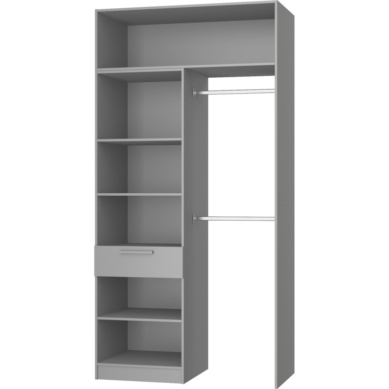 Dressing Spaceo Home Gris H 240 X L 80 X P 60 Cm Leroy Merlin