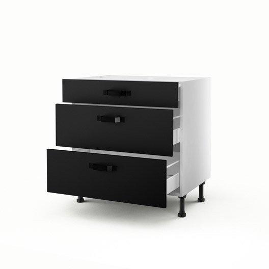 meuble de cuisine bas noir 3 tiroirs mat edition x l. Black Bedroom Furniture Sets. Home Design Ideas