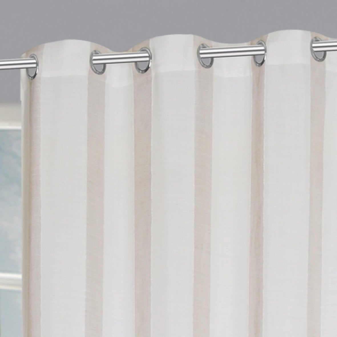 Rideau tamisant, Madina blanc et beige l.140 x H.260 cm