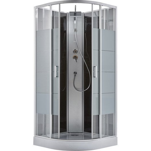 cabine de douche 1 4 de cercle 90x90 cm pepper line leroy merlin. Black Bedroom Furniture Sets. Home Design Ideas