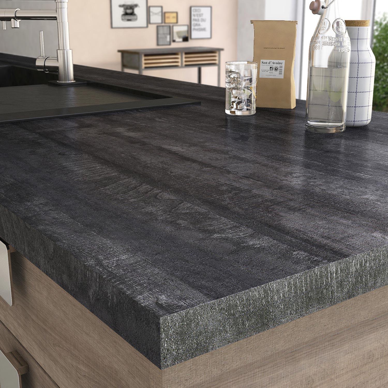 Plan De Travail Stratifié New Vintage Wood Noir Mat L.315 X P.65 ...