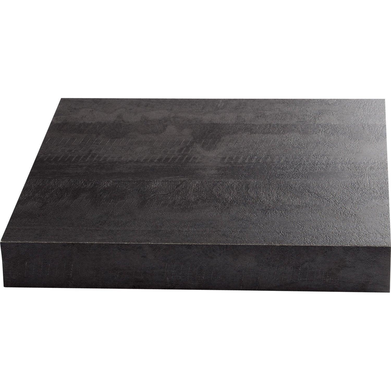Plan de travail stratifi new vintage wood noir mat x cm mm leroy merlin - Matiere plan de travail cuisine ...