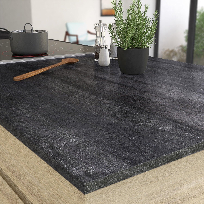 plan de travail stratifi new vintage wood noir mat x cm mm leroy merlin. Black Bedroom Furniture Sets. Home Design Ideas