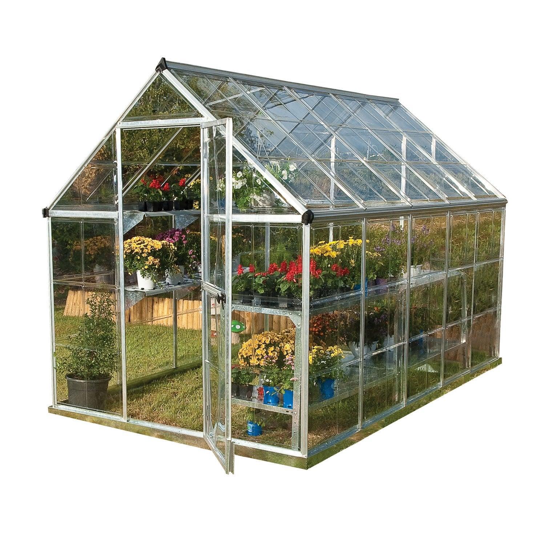 serre de jardin argent harmony 56 m² aluminium et