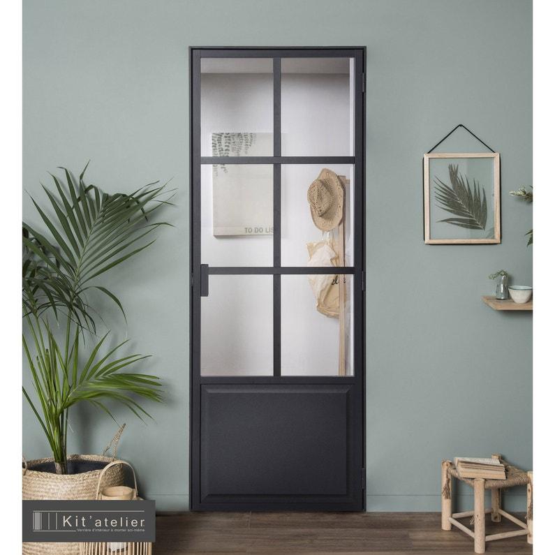Bloc Porte Personnalisable Kit Orangerie Noir H 204 X L 73 Cm Pous Gauche Leroy Merlin