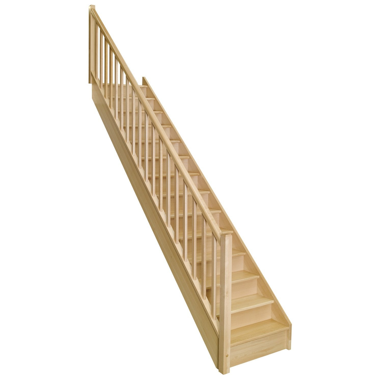 Escalier Soft Droit H274 Rampe Clic à Gauche Structure Bois Marche