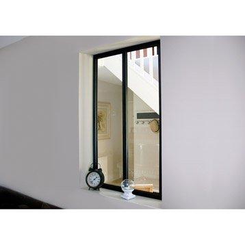 Verrière d'intérieur atelier en kit aluminium noir 2 vitrages, H.1.08 x l.0.63 m