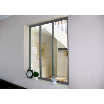 Verrière d'intérieur atelier en kit aluminium gris 3 vitrages, H.1.08 x l.0.93 m