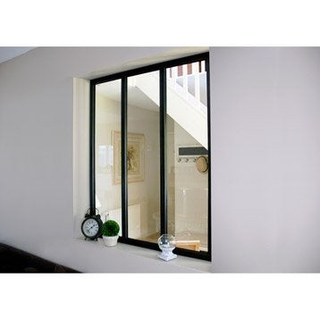 Verrière d'intérieur atelier en kit aluminium noir 3 vitrages, H.1.08 x l.0.93 m